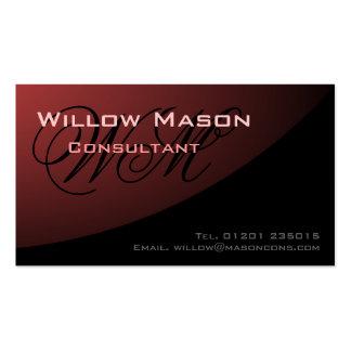 Rosa negro curvado, tarjeta de visita del monogram