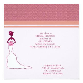 Rosa nupcial de la ducha invitación 13,3 cm x 13,3cm
