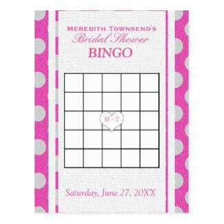 Rosa nupcial y plata del bingo el | de la ducha postal