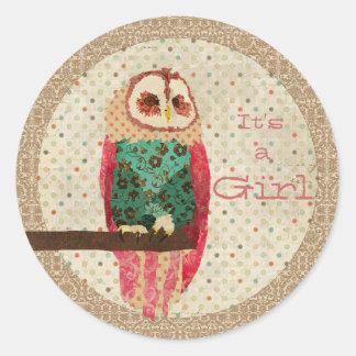 Rosa Owl It's a Girl Sticker