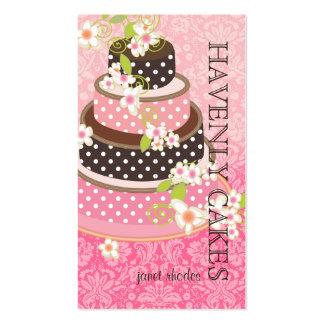 Rosa + Pastel de bodas/panadería/pâtisserie del Tarjetas Personales