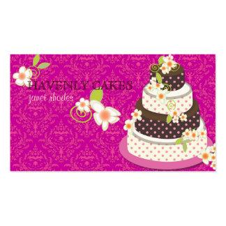 Rosa + Pastel de bodas/panadería/pâtisserie del Tarjetas De Visita