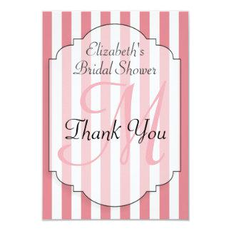 Rosa personalizado ducha nupcial del monograma invitación 8,9 x 12,7 cm