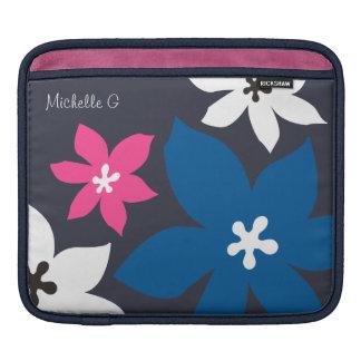 Rosa personalizado estampado de flores moderno gra mangas de iPad