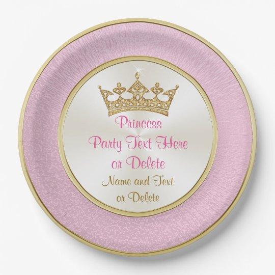 Rosa personalizado y princesa placas de papel del plato de papel