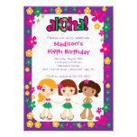 Rosa púrpura de la pequeña de Luau del fiesta invi Invitación Personalizada