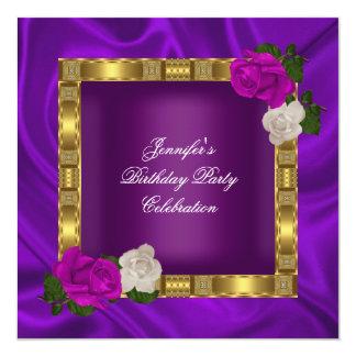 Rosa púrpura del ciruelo del oro de la fiesta de invitación 13,3 cm x 13,3cm