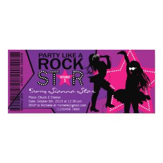 Rosa púrpura del cumpleaños de la banda del chica invitación 10,1 x 23,5 cm