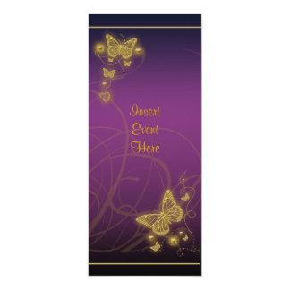 Rosa púrpura floral del fiesta de la mariposa invitación 10,1 x 23,5 cm