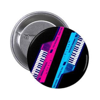 Rosa retro y azul de Keytar de los años 80 del Chapa Redonda De 5 Cm