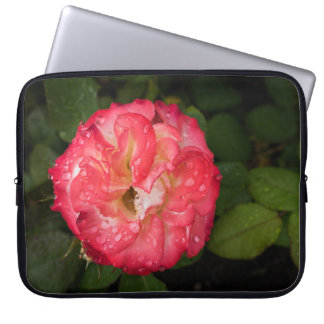 Rosa rojo con la manga del ordenador portátil de funda para portátil