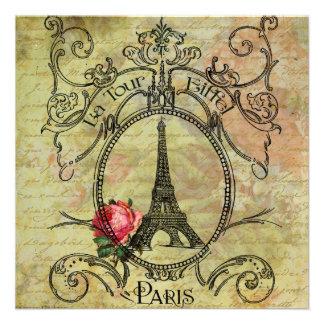 Rosa rojo de la torre Eiffel n de Steampunk Anuncios Personalizados
