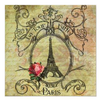 Rosa rojo de la torre Eiffel n de Steampunk Invitación 13,3 Cm X 13,3cm