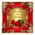 Rosa rojo del 50.o de cumpleaños oro elegante de anuncio personalizado