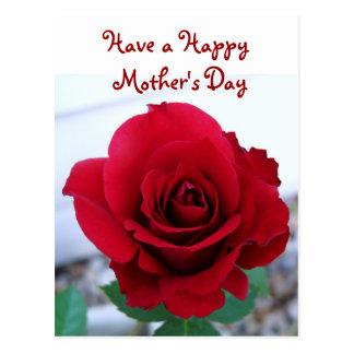Rosa rojo del día de madre postal