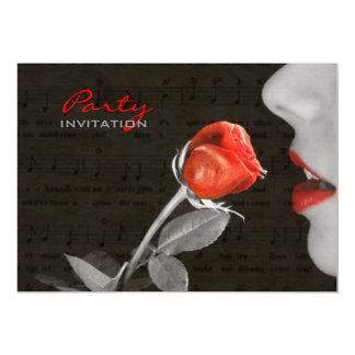 rosa rojo del día de San Valentín del flourish de Invitación 12,7 X 17,8 Cm