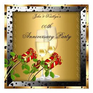 Rosa rojo del oro de la fiesta de aniversario flor anuncios personalizados