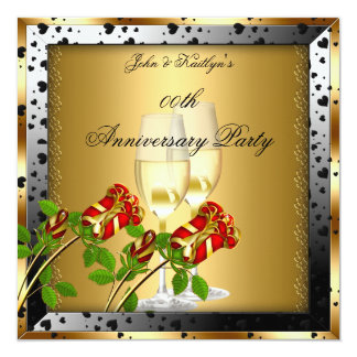 Rosa rojo del oro de la fiesta de aniversario invitación 13,3 cm x 13,3cm