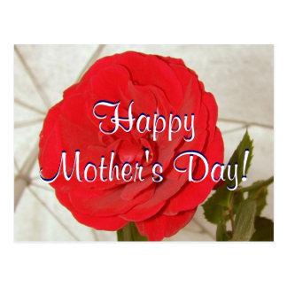 Rosa rojo feliz del día de madre I Postal