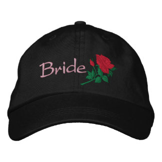 Rosa rojo para la novia bordada casando el casquil gorra de beisbol bordada