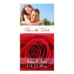 """Rosa rojo /photo """"reserva la fecha """" tarjeta fotografica personalizada"""