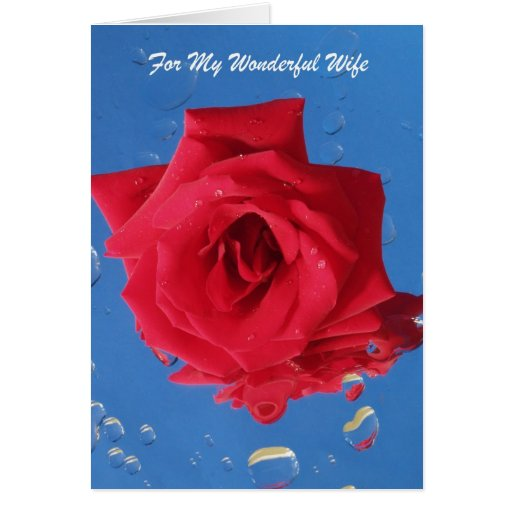 """Rosa rojo """"tarjeta de cumpleaños para la esposa """""""