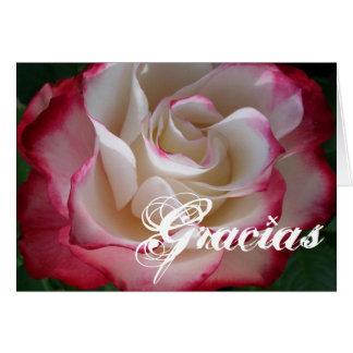 Rosa rojo y blanco Gracias Tarjeta De Felicitación