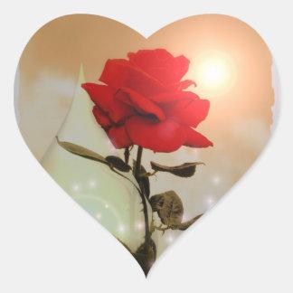 Rosa rojo y tarjeta del día de San Valentín Pegatina En Forma De Corazón