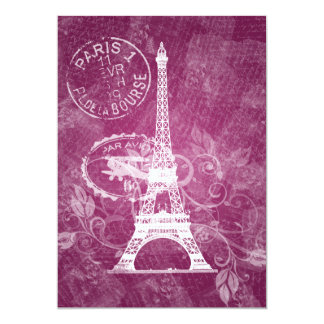 Rosa romántico de París de la ducha nupcial Invitación 12,7 X 17,8 Cm