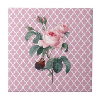Rosa rosado Oriente Azulejo Cuadrado Pequeño