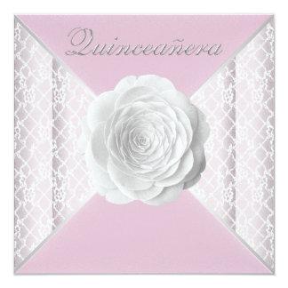 Rosa rosado y blanco elegante Quinceanera Invitación 13,3 Cm X 13,3cm