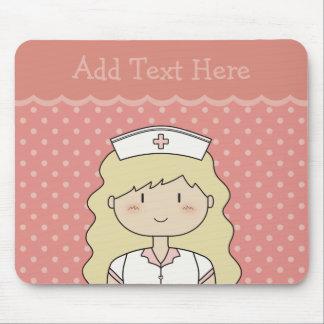 ROSA (rubio) lindo de la enfermera del dibujo anim Alfombrilla De Ratón