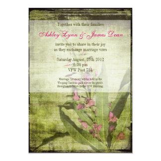 Rosa rústico de las invitaciones del boda del invitación 12,7 x 17,8 cm