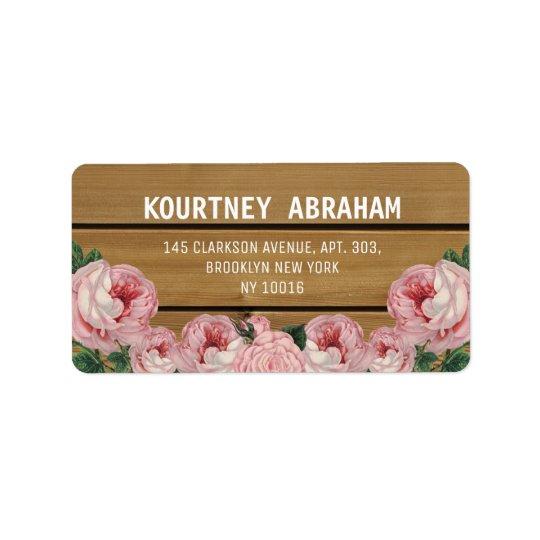 Rosa rústico del vintage subió etiquetas de dirección