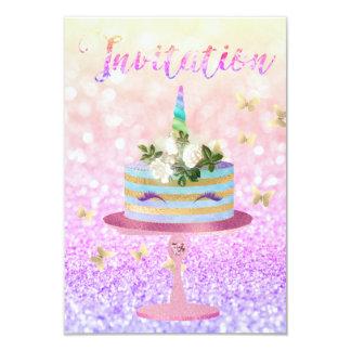 Rosa subió unicornio de Ombre del purpurina del Invitación 8,9 X 12,7 Cm
