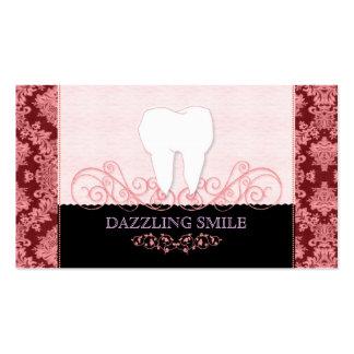 Rosa + Tarjetas de visita negras de la odontología