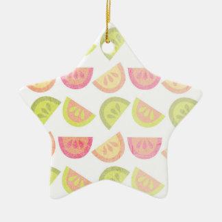 Rosa, verde lima, naranja, amarillo, fruta cítrica ornamentos de reyes magos