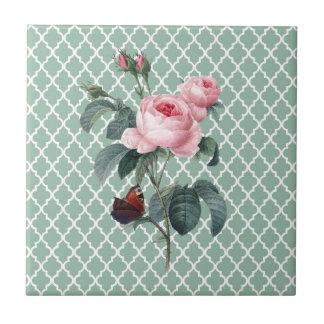 Rosa verde Oriente Azulejo Cuadrado Pequeño