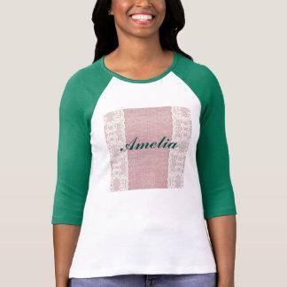 rosa, vintage, cordón, arpillera, grunge, camiseta