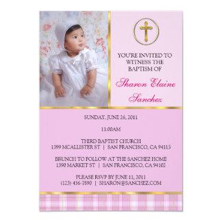 Rosa y bautismo del oro/invitación del bautizo invitación 12,7 x 17,8 cm