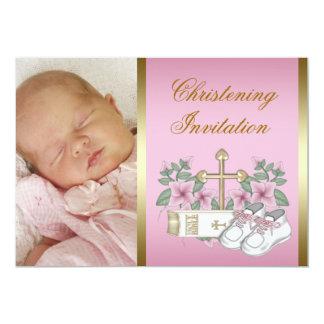 Rosa y bautizo del oro invitación 12,7 x 17,8 cm
