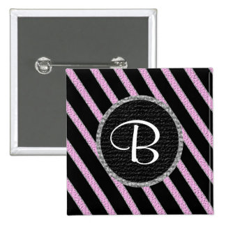 Rosa y botón del monograma de las rayas negras pins