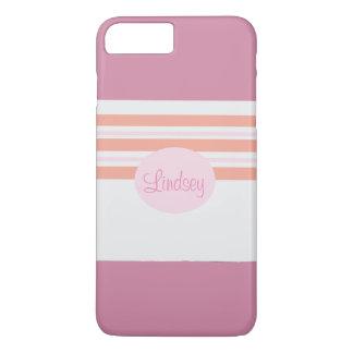 Rosa y caja rayada anaranjada del teléfono funda iPhone 7 plus