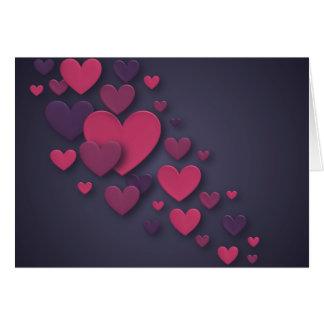 Rosa y corazón de conexión en cascada tridimension tarjeta de felicitación