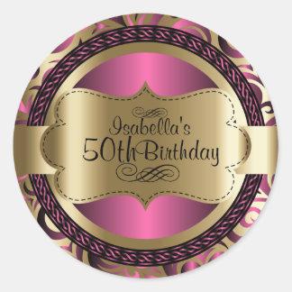 Rosa y cumpleaños abstracto del oro pegatina redonda