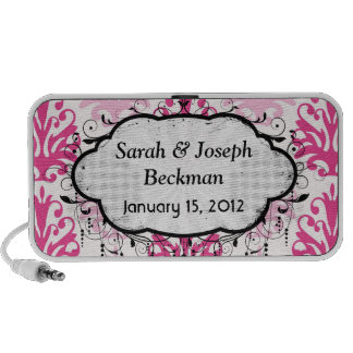 Rosa y damasco rosado oscuro de la moda del boho laptop altavoces