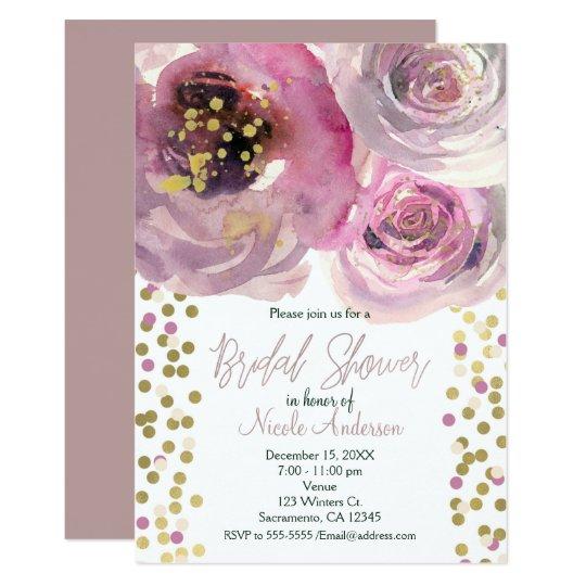 Rosa y ducha nupcial de la acuarela floral moderna invitación 12,7 x 17,8 cm
