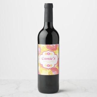 Rosa y ducha nupcial de las momias florales etiqueta para botella de vino