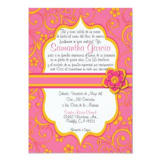 Rosa y español anaranjado Quinceañera Invitación 12,7 X 17,8 Cm