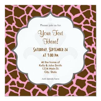 Rosa y estampado de animales de la jirafa de Brown Invitación 13,3 Cm X 13,3cm